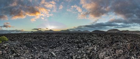 panoramic view of Timanfaya national park with volcanoes Stock Photo