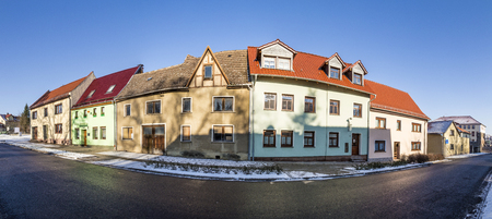 BAD FRANKENHAUSEN, GERMANY - JAN 21, 2017: old houses in a street in Bad Frankenhausen, Germany. After reunion of Germany a lot of old houses were renovated. Editorial
