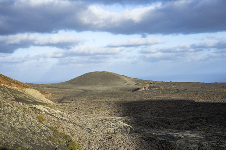view to volcanic crater in timanfaya national park