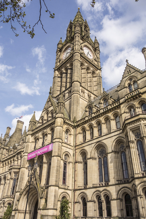 Manchester Town Hall in Albert Square, seat of local government, is an example of Victorian era Gothic revival architecture