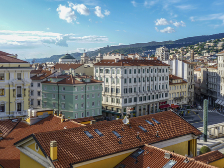 TRIESTE, ITALY - AUG 12, 2017: view to famous central market in Trieste, Italy. Trieste is a major tourist stopp point for people traveling to croatia and slowenia.