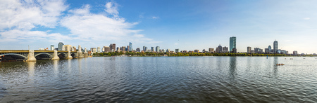 skyline of Boston seen from river Charles Фото со стока