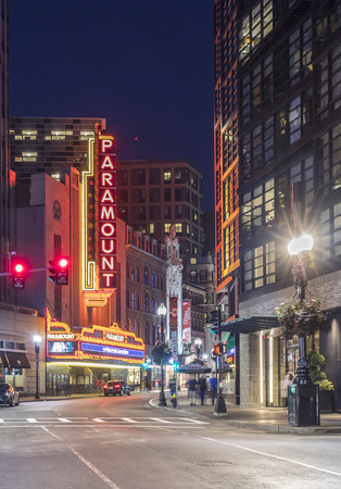 massachussets: BOSTON, USA - SEP 13, 2017: view to famous historic theater district in Boston, Massachussets with ads of Paramount theater. The Paramount opened in 1932 as a 1700-seat, single-screen movie theatre.