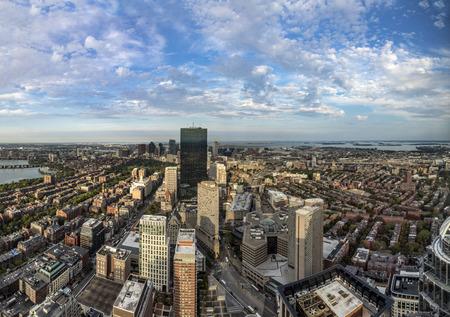 massachussets: aerial view to skyline of Boston, Massachussets