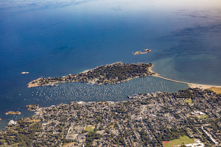 Marblehead harbor, aerial, MA with Marblehead Neck in foreground and harbor filled with sailboats Stock Photo
