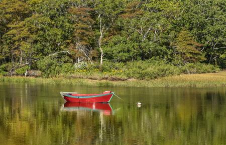 boat at beautiful lake landscape at Harwich at Cape Cod island Stock Photo
