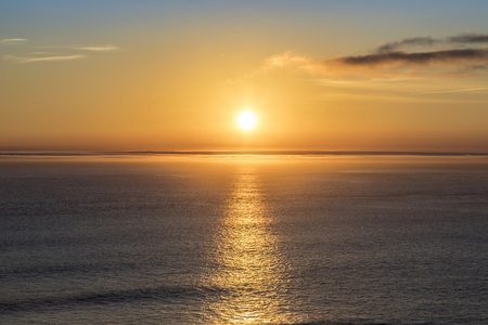 romantic sunset at the atlantic ocean seen from  Gay Head cliffs at the westernmost point of Marthas Vineyard in Aquinnah, MA, USA