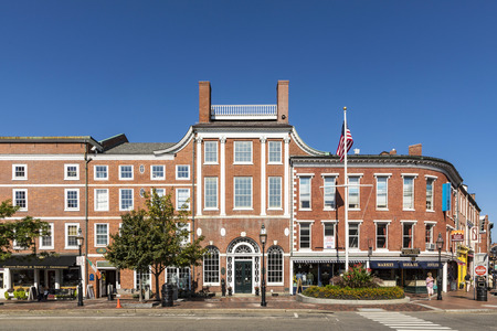 PORTSMOUTH, USA - SEP 27, 2017:  old historic market street with brick buildings.  A public lottery held in 1762 paid for paving the Market Square in Portsmouth. Editorial