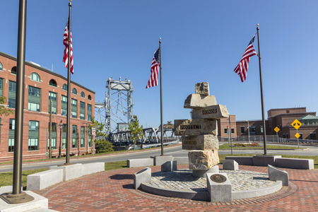 PORTSMOUTH, USA - SEP 27, 2017:   Portsmouth Veterans Memorial - Portsmouth, NH, United States with memorial bridge.