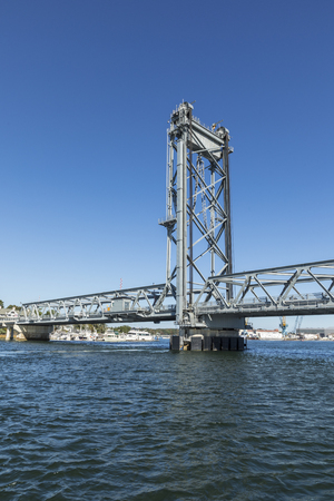 The Memorial Bridge  over the Piscataqua River, in Portsmouth, which connects New Hampshire to Maine Stock Photo