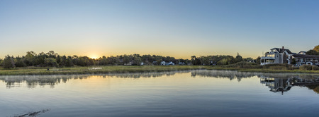 massachussets: scenic sunrise at the canals in Essex, USA Stock Photo