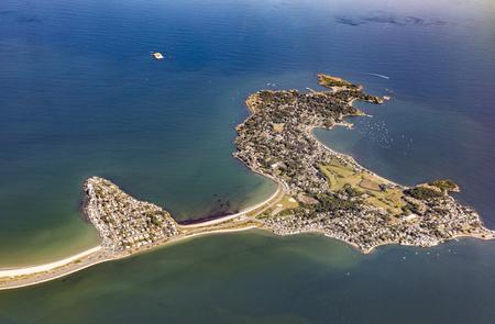 massachussets: aerial view of Nahant island near Boston, Massachussets in the atlantic ocean Stock Photo