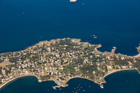 ボストン近郊の Nahant 島の空中風景、大西洋の Massachussets 写真素材