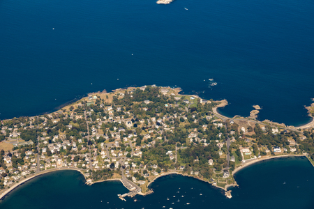 aerial view of Nahant island near Boston, Massachussets in the atlantic ocean Фото со стока