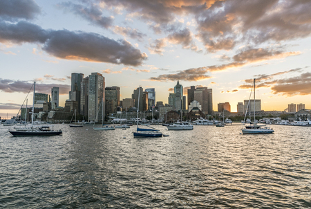 BOSTON, USA - 29.9.2017: view to skyline of Boston in sunset, USA. Boston is the biggest harbor in Massachussets. Editorial