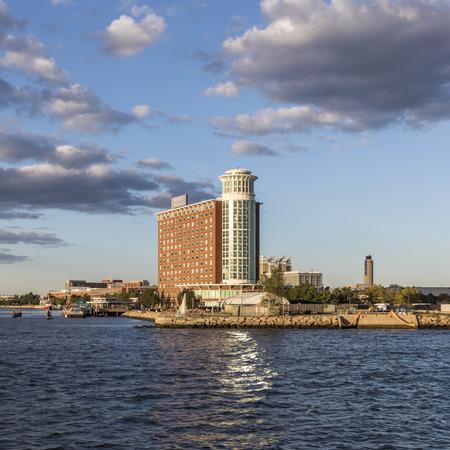 BOSTON, USA - 29.9.2017: view to  the hotel Hyatt Regency Hotel in Boston harborside  at airport Logan, Boston.