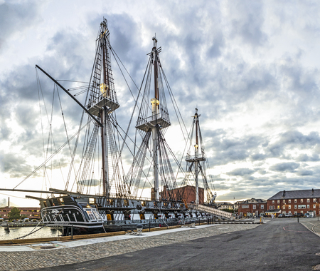 BOSTON, USA - SEP 29, 2017: view to  old navy ship USS constitution at the pier in Boston. The USS Constellation is the only remaining original historic sailing army ship from the 18th centuty.