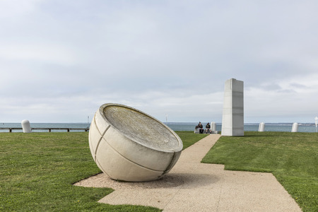 NEWPORT, USA - SEP 23, 2017: famous Newport Portuguese Discovery Monument . The monument was constructed at Brenton Point, Newport, RI in 1988.