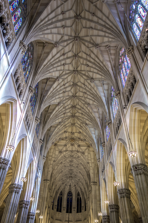 fifth avenue: New York City, USA - OCT 4, 2017: The Cathedral of St. Patrick is a Neo-Gothic-style Roman Catholic cathedral church and a prominent landmark of New York City Editorial