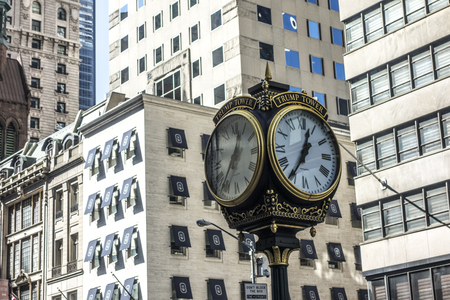NEW YORK,  USA - OCT 6, 2017: old vintage lantern and clock at the Trump Tower with letters trump tower  and time 35 minutes pm.