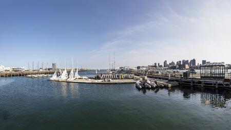 BOSTON, USA - SEP 12, 2017: panorama of panorama of  wharf iand north harbor pier in Boston, USA.