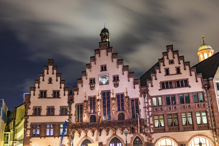 roemerberg: FRANKFURT, GERMANY - OCT 27, 2017: Old medieval building at Romerberg square. It is made in middle-age style in Altstadt - a historical center of the city, which existed from the 8th century