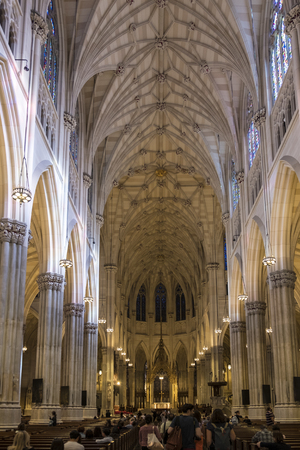 New York City, USA - OCT 4, 2017: The Cathedral of St. Patrick is a Neo-Gothic-style Roman Catholic cathedral church and a prominent landmark of New York City Editorial