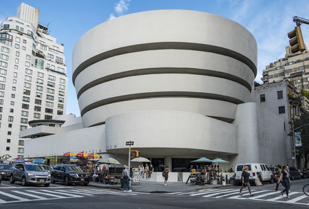NEW YORK, USA - OCT 6, 2017:  Solomon R. Guggenheim Museum is the permanent home of a continuously expanding collection of Impressionist, Post-Impressionist, early Modern and contemporary art Editorial