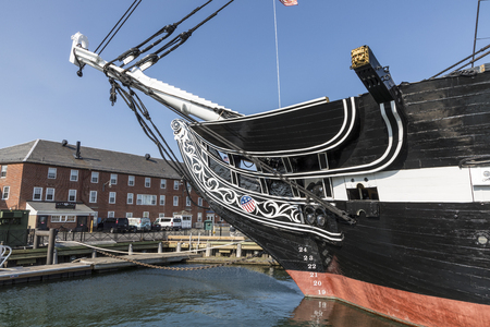 BOSTON, USA - SEP 13, 2017: famous USS Constitution, Boston, USA in the harbor. Every year at independence day the ship sails again in Boston harbor.