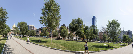 BOSTON, USA - SEP 13, 2017: people enjoy the Park Boston Common. Dating from 1634, it is the oldest city park in the United States.