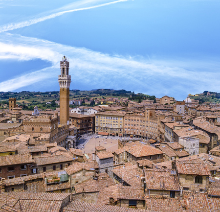 Siena downtown, Campo Square (Piazza del Campo) at sunset in Tuscany, Italy