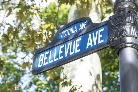 Street sign Bellevue Avenue, the famous avenue with the historic mansion and the cliff walk