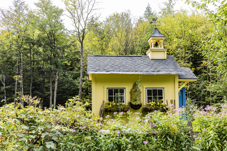 SUNDERLAND, USA - SEP 21, 2017: typical wooden small farm house in victorian style in Sunderland, Vermont, USA in the green mountain area. Editorial