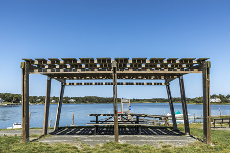 pier in Dennis with covered platform for relaxing, fishing and just relaxing