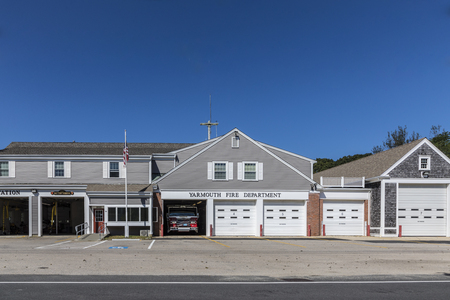 YARMOUTH, USA - SEP 24, 2017: facade of shops at the Main street in Yarmouth. Yarmouth is a town in Barnstable County, Massachusetts, being coextensive with Cape Cod.
