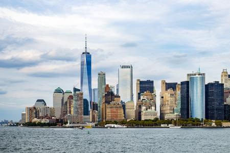skyline of New York downtown Manhattan Stock Photo