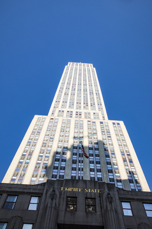 NEW YORK,  USA - OCT 5, 2017:  Empire State Building view from street level in Manhattan, New York.