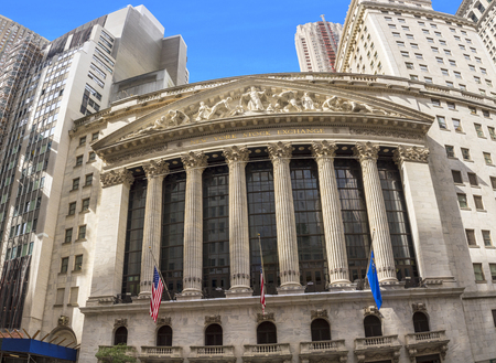 NEW YORK, USA - OCT 5, 2017: facade of wall street stock exchange in New York. NYSE is the most famous stock exchange in the world.