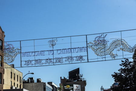 NEW YORK, USA - OCT 5, 2017: sign welcome to china town in Chinatown, Soho, New York. Editorial