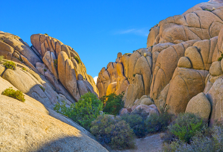 scenic Jumbo rock in Joshua Tree National Park Stock Photo