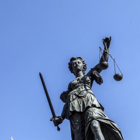 Lady justice at the Roemerberg in Frankfurt Stock Photo