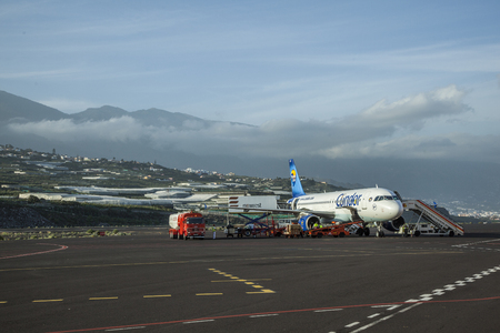 GRAN CANARIA, SPAIN - JAN 4, 2010:  condor flight takes a stopover at the airport  in Gran Canaria, Spain. Nearly 2 Million passenger use the airport yearly.