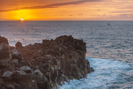 Romantic sunset at the coast of Lanzarote at Los Hervideros