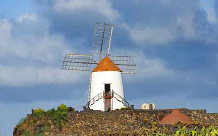 グアティザ村の熱帯サボテンガーデンの風車、ランサローテ島の人気アトラクション、カナリア諸島 写真素材