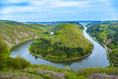 Saar loop at Mettlach. A famous view point. Stock fotó - 93213153