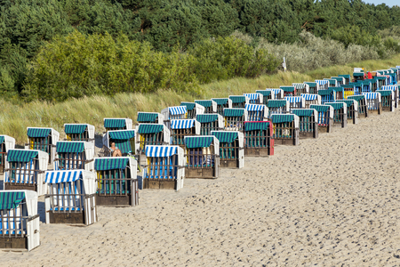 beach with beach chairs in a row  in Zinnowitz, Usedom, Germany