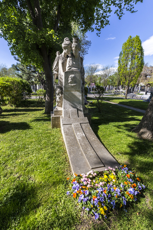 VIENNA, AUSTRIA - APR 26, 2015: Last Resting Place of Carl Costenoble Grave at the Vienna Central Cemetery