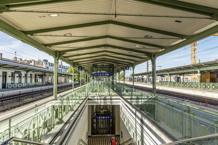 VIENNA, AUSTRIA - APR 25 2015: people at train Station Wien Heiligenstadt in Vienna, Austria. Vienna Metro belogs to the oldest subways in Europe. Editorial