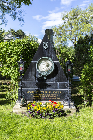 VIENNA, AUSTRIA - APR 26, 2015: Last Resting Place of composer Ludwig van Beethoven Grave at the Vienna Central Cemetery