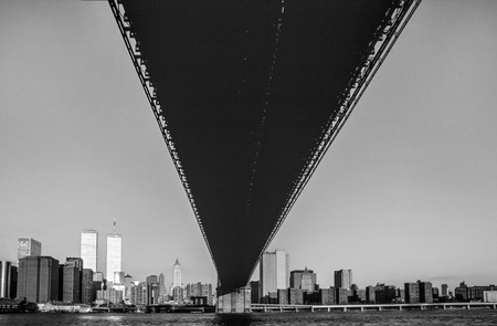 NEW YORK, USA - NOV 29, 1996: view from Brooklyn Bridge to skyscraper and twin towers in New York, USA. Editorial